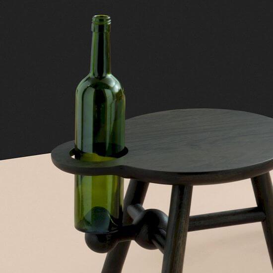Pode Bottle Stool Bijzettafel Zwart Eikenhout E00013179 2