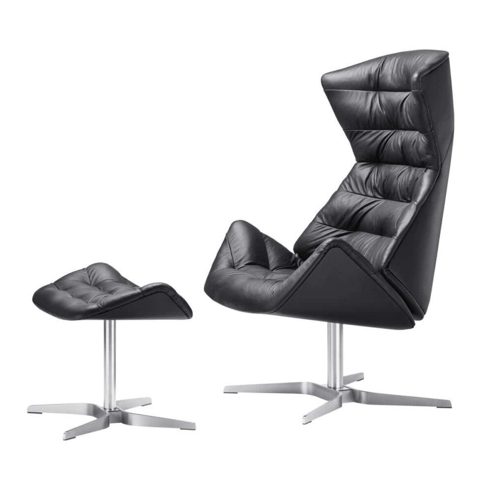 Thonet 808 Lounge Sessel Gestell Edelstahl Nappaleder 500 Schwarz Mit Gratis 808 Hocker