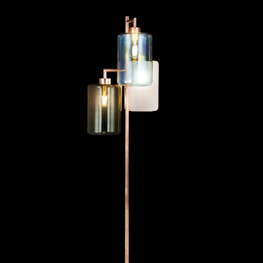 Brandvanegmond Louise Collection Floor Lamp Lof200Copbur Standard Brass Burnished Finish Black Background