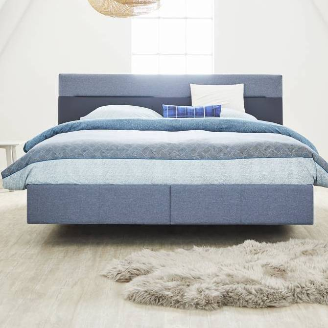 Web Tempur Relax Bed Texture 110 Marine Stof Lederlook