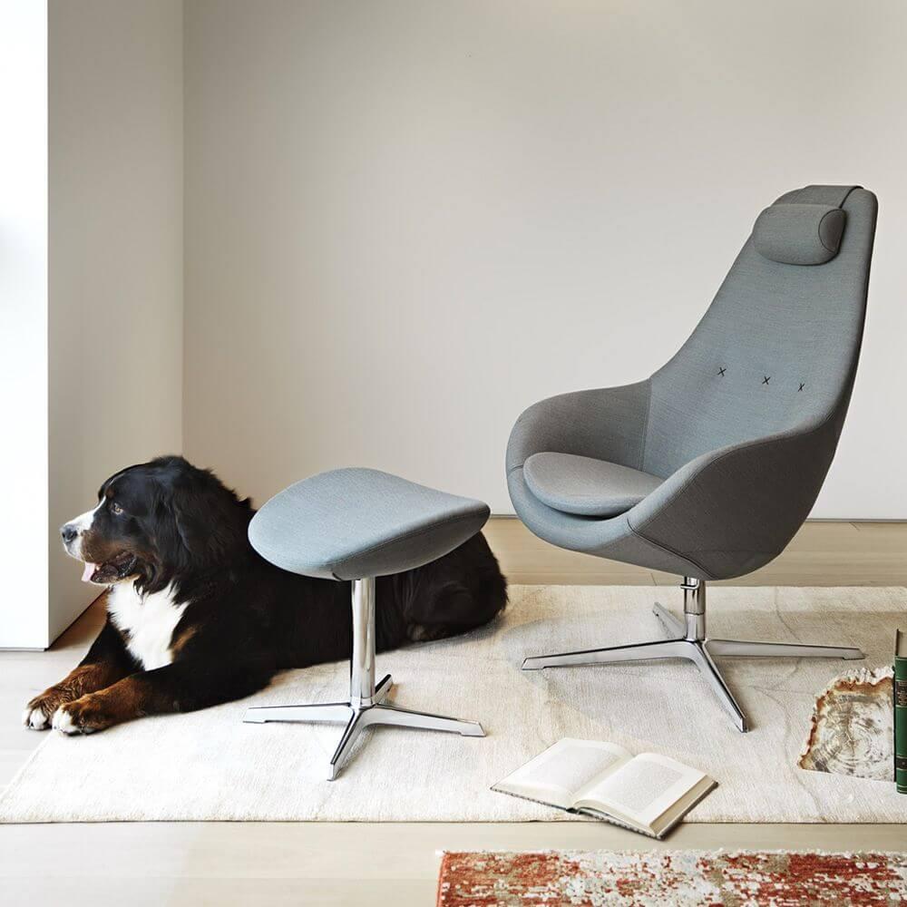 Kokon Ergonomic And Swivel Armchair With Footrest